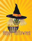 Happy Halloween Witch with Bowl of Candy Illustration
