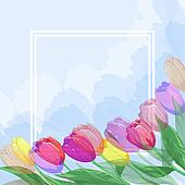 Background, flowers tulips and frame