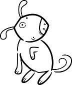 cartoon doodle of dog for coloring