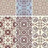 vector six seamless  patterns, oriental style