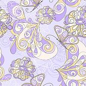 vector seamless pattern with butterflies and flowers