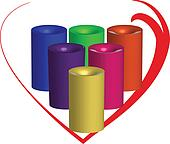 Candles 3d with a heart around