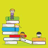 students and books