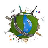 world travel globe concept isolated