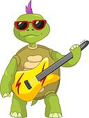 Funny Turtle. Rock Star.