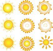Suns set swirly vector