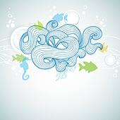 Abstract sea waves and marine life background