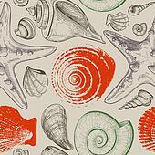 Sea shells retro seamless pattern