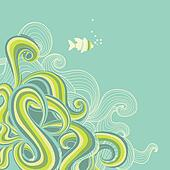 Retro sea waves marine background