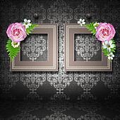 frames with roses over vintage wallpaper