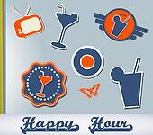 Set of different cocktail stickers
