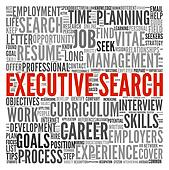 Executive search concept in word tag cloud