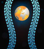 special black tire track background with globe