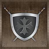 Silver shield with swords.