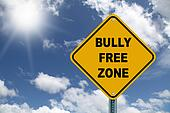 Yellow bully free road sign