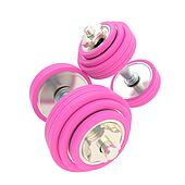 Women strength: pink pair of dumbbells