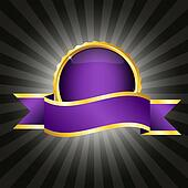 Purple badge with ribbon