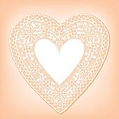 Lace Doily Heart on Pastel Peach