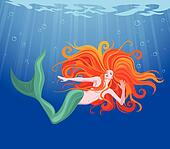 Red-haired beauty mermaid