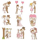 Bride and Groom - Wedding Doodle Set - Design Elements for Scrapbook, Invitation in vector
