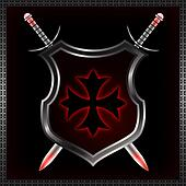 Abstract shield with swords.