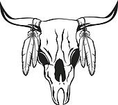 skull bull with feathers