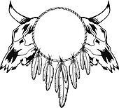 skulls bull and tambourine