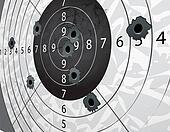 Gun bullet`s holes on paper target in perspective