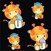 giraffe baby cartoon set