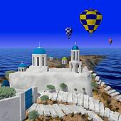 Greece style building with balloon