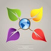 Colorful creative icon design. Earth planet and plant leaves cre