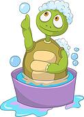 Funny Turtle. Baby Washing