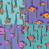 seamless pattern pink fish