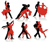Silhouettes of the pairs dancing ba