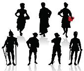 Silhouettes of the actors