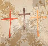 Three Crosses on the grunge background. The biblical concept of the crucifixion