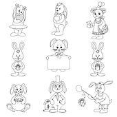 Set toy rabbits, outline