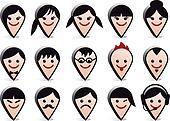 avatar heads, vector faces icon set