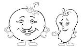 Character tomato and pepper, outline