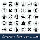Transport and road signs icons set