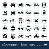 Transport, road signs and car icons