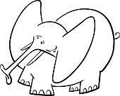 Elephant Cartoon for coloring book
