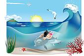 Swimming child with dolphins 2