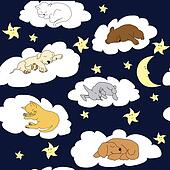 Night sky background with sleeping cute cartoon animals