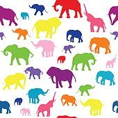 Seamless background with colored elephants silhouettes