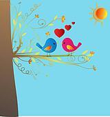 Birds in love vector stock