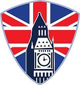 Big Ben London Clock Tower British Flag