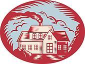 House Homestead Cottage Woodcut