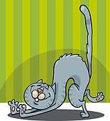 stretching cat cartoon