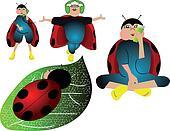 set of fun ladybug